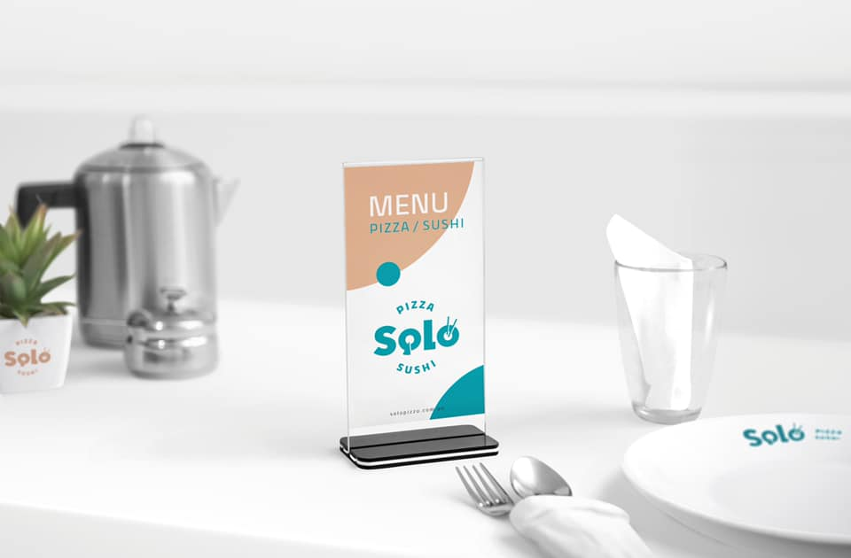 Case -pizzeria rebranding Solo&Sushi from creative agency Patyzan, Logo, brand-book, menu, printing, souvenirs, ect.